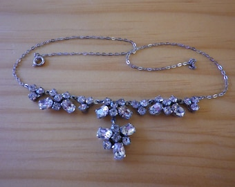 Md Century Vintage Clear Rhinestone Plated Necklace
