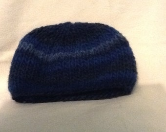 Gift for Mothers Day - Ladies handknitted beanie hat in blue