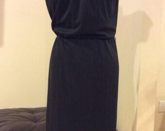 Vintage 1970's Black Poly Dress