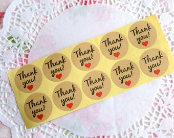 Round Thank You Label, Thank You Sticker, Wedding Sticker, Product Sticker, Envelope Seals, Gift Wrapping, Adhesive Label, Thank You Tag