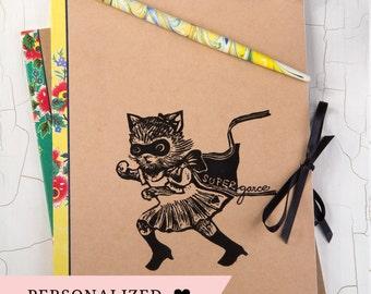 CAHIER Chat/ Superchat/ cahier à personnaliser/ idée cadeau originale/ cadeau à personnaliser/ impression originale/ fan de chat