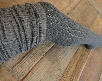Contrasting color-blocked Pointelle open-knit top Over the knee socks, Knitted, Boot Socks, Gift for Her