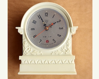 Vintage alarm clock Mantel clock Wind up mechanical clock Chinese desk clock Old table clock Diamond China Ivory white Cottage chic