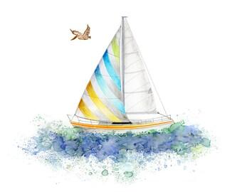 Sailboat Painting - Nautical Nursery Decor - Transportation Wall Art - Sailboat Nursery - Sailboat Print - Sailboat Decor - Sailboat Art