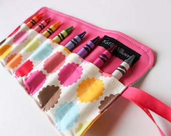 Flower Dot Crayon Holder-Girl Crayon Roll-Girl Easter Basket Gift-Girl Party Favor-Girl Birthday Gift-Travel Art Accessory-Girl