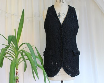 Vintage Black Lace Waistcoat with Beading and Pockets by J Taylor. UK 12, US 8