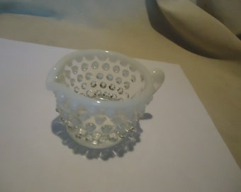 Vintage Moonstone Hobnail Opalescent Glass Mini Creamer Dish, collectable