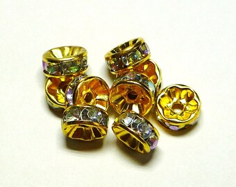 lot 10 Golden cups and 8 mm AB clear rhinestones