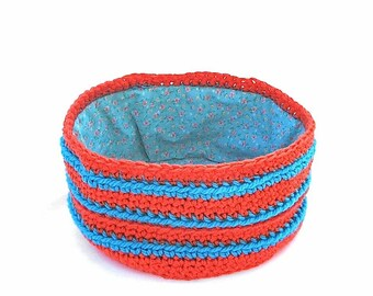 Striped Crochet Basket/ Bowl Bright Orange and Blue with Flower PrintFabric Lined