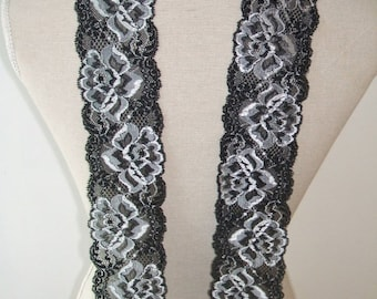6 yards black & white french lace trim (N78)/ Stretch lace trim by the yard