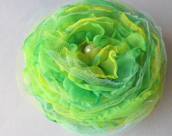 Bright Green Singed Flower Pin