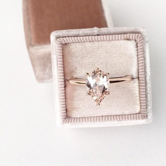 Pear Morganite Rose Gold Ring Six Prong