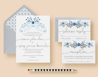 Rustic Modern Wedding Invitation Set - Rustic Modern Wedding Invitations - Rustic Modern Invitation Suite - Save 15% when you purchase set!