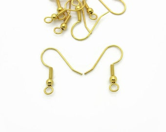 Gold Plated Ear Wire Hooks, 5 pairs