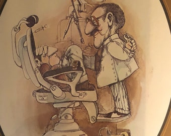 """Gary Paterson """"The Dentist"""" print on boatd with no frame."""
