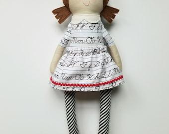 Schoolgirl Doll-Brunette Doll-Brown Hair Doll- Handmade Doll- Fabric Doll-First Day of School- OOAK Doll- Baby Doll- Heirloom Doll
