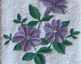 Purple Floral Embroidered Hand Towel