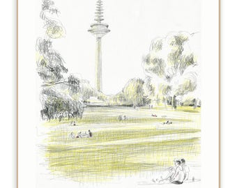 Frankfurt city sketch PRINT of pencil drawing in park - Grüneburgpark Frankfurt Westend - urban sketch by Catalina