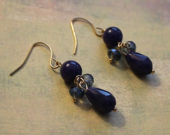 Golden Dumortierite Beads and Blue Crystals Drop Dangle Earrings