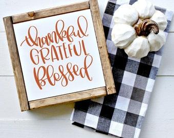Thankful, Grateful, Blessed - Hand Lettered SVG