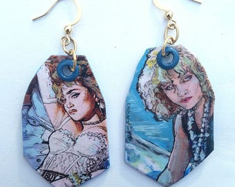 Madonna Like a Virgin - hand-painted pop culture earrings