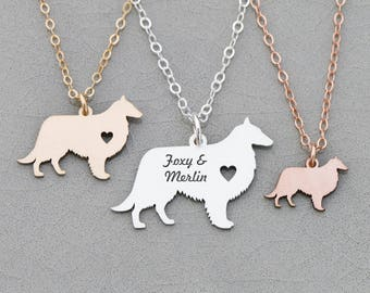 Sheepdog Necklace • Sheltie Dog Necklace • Shetland Dog • Farm Family Dog Pendant Personalize Birthday Gift Personalize Pet Name