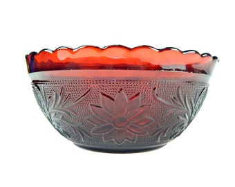 Ruby Red Indiana Glass Bowl Tiara Pattern 8 inch Scalloped