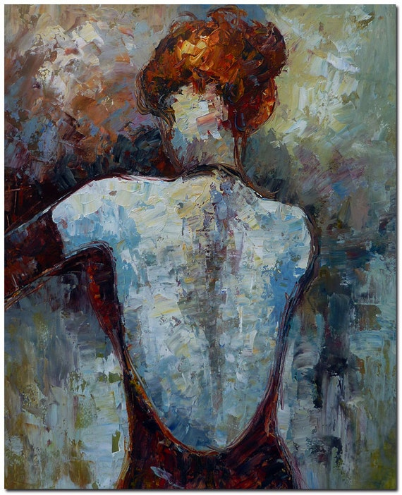 Woman in Bare Back Dress Hand Painted Palette Knife