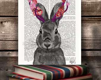 Rabbit print rabbit art - Jackalope with Pink Antlers - wall decor digital print rabbit illustration rabbit wall art pink decor pink room