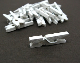 Ice White Mini Clothespin - Set of 25