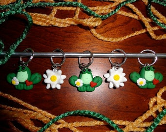Polymer clay stitch markers- Frog and Lily Pad Flower Stitch Markers (Set of 5)