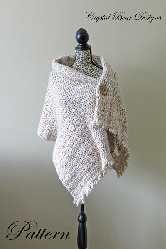 Crochet Shawl Pattern Button Wrap Poncho Easy Beginner