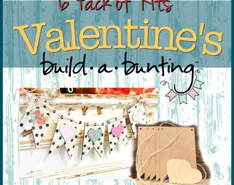 Valentine's Day Banner Case Pack of 6 Kits, 6 Complete Kits, Unfinished Wooden Pieces and Twine Only.