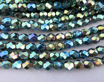 Northern Lights Czech Glass Beads, 6mm Faceted Dark Green with AB Finish, Firepolished Full Strand 25 Beads
