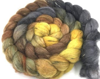 Baby Alpaca combed top, spinning fiber, Donegal Tweed roving - Burning Leaves