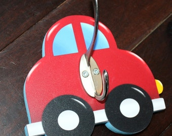 Red Car Vehicle Boys Clothes Peg Rack Clothing Rack, Hat Holder for Kids Bedroom Baby Nursery