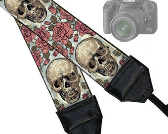 Camera Neck Strap Dslr Camera Strap Slr Padded Camera Strap Nikon Canon  Steampunk Goth Skulls Roses black pink blue green RTS