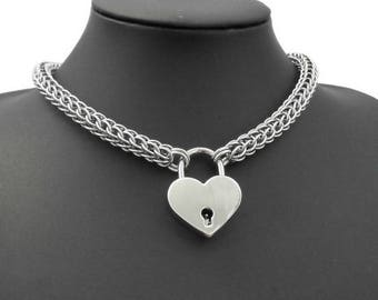 Stainless Steel Collar Necklace Set with Working Heart Padlock Pendant & Keys