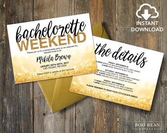Gold Glitter Bachelorette Invitation | Printable Invitation | Bachelorette Invitation | Bachelorette Party | Weekend party | Hens Night