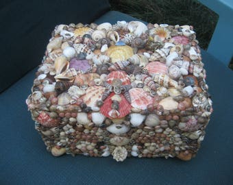 Hundreds of Shells/Seashells Treasure Box/Beautiful Ornate Jewelry Cigar Box