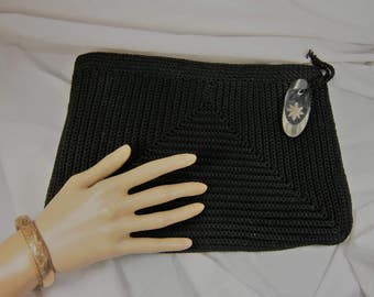crocheted clutch, black handbag, crochet purse, lucite zipper pull, black evening bag, large clutch bag, crochet pocketbook, 1940's