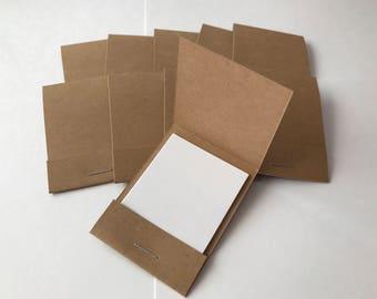 100 Matchbook Notepads Matchbook Favors - Kraft, Handmade