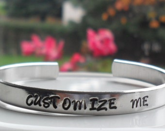 Hand Stamped Bracelet Customized Aluminum Skinny Cuff Bangle Personalized Gift - Graduation - Birthday - Mothers Day