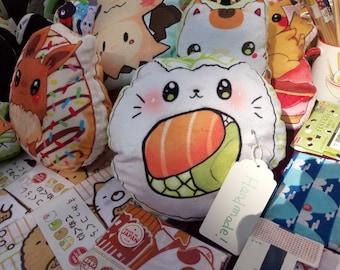 Sushi cat California maki two sided soft fleece pillow plush