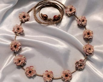 Bridal, Country, Rustic Dusty Rose Miniature Cabbage Roses Twine Headband