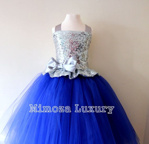 Silver & Royal Blue Flower Girl Dress, silver sequin bridesmaid dress, flower girl gown, bespoke girls dress, tulle princess dress, silver