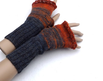 fingerless gloves, knit gray orange fingerless mittens, knitting wool arm warmers, colorful hand warmers, spring gloves, knitted gauntlets