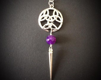 Celtic knot and purple dragon vein bead with spike design, Celtic, Nickel free