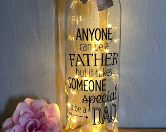 anyone can be a father step dad light up wine bottle gift for fathers day birthday xmas