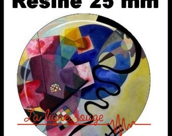 Round cabochon resin 25 mm - Kandinsky stick in blue (233)